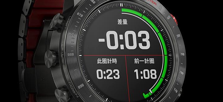 內建賽車應用程式專為著迷於速度感的車手而設計,搭配自動計圈和即時速差功能顯示,驅動你的極限潛能。